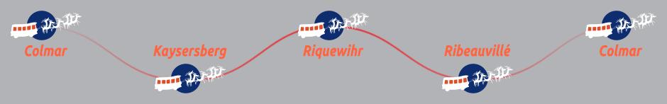 Itinéraire de la ligne une des Navettes de Noëldu Pays des Etoiles